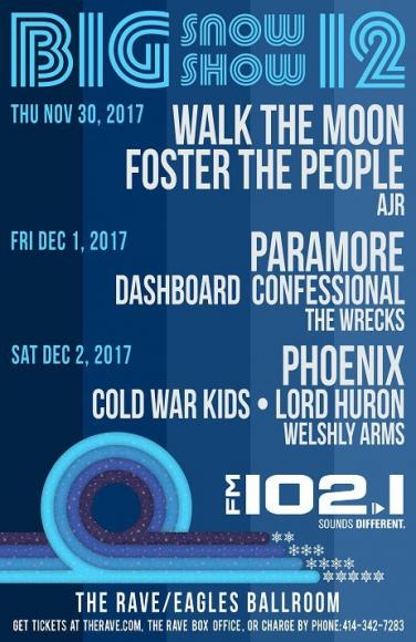 FM 102.1 Big Snow Show: Phoenix, Cold War Kids, Lord Huron & Welshly Arms at The Rave Eagles Club